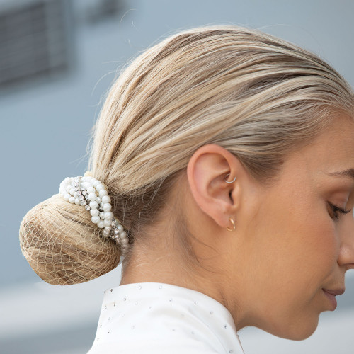 Braided Crystals & Pearls Bun Ring Scrunchie - One size