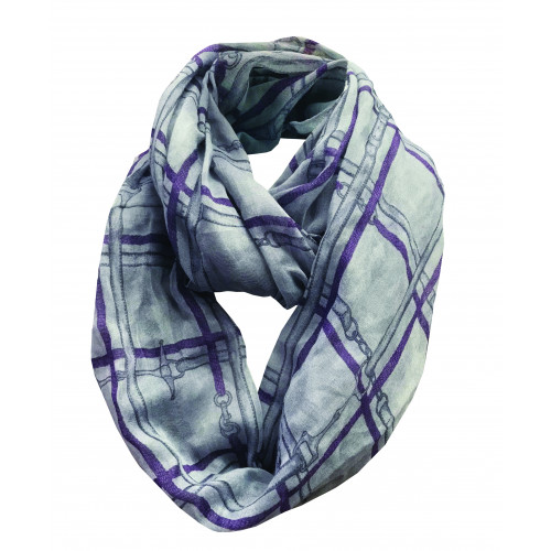 Bridles Checked Infinity Scarf - Grey/Blackberry