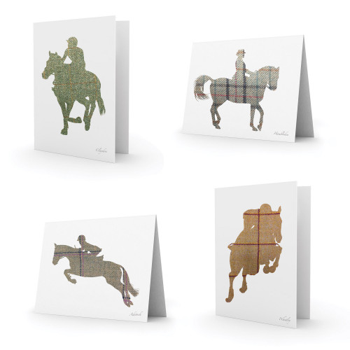 Equetech Tweed Horses Greetings Cards - 8 pack