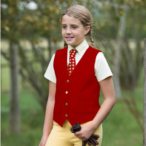 Junior Jacquard Classic Waistcoat - Red