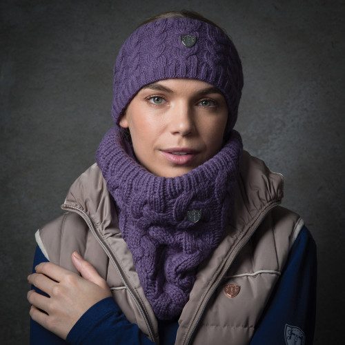 Cable Knit Loop Scarf- Mauve (one size)