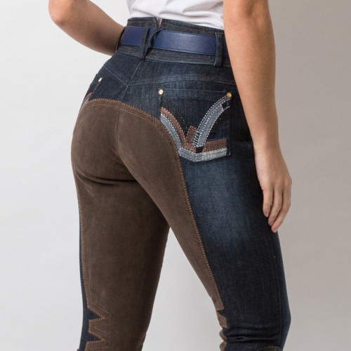 Denim Breeches - Navy/Tan
