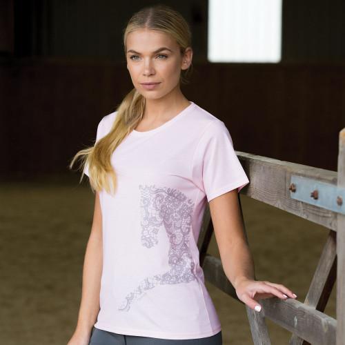 Dressage Horse Tee  - Pink XL