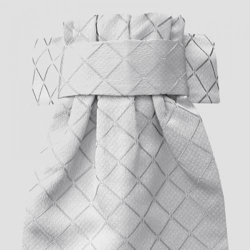 Deluxe Ready-Tied Stocks - Diamond Jacquard White/Silver