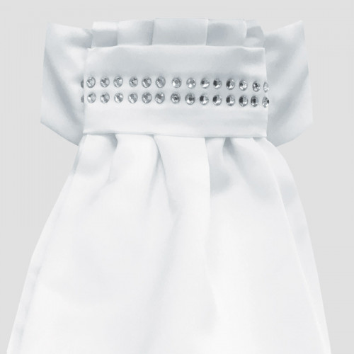 Deluxe Ready-Tied Stocks - White/ Diamante Band