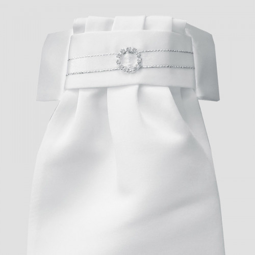 Deluxe Ready-Tied Stocks - White/ Circle Diamante