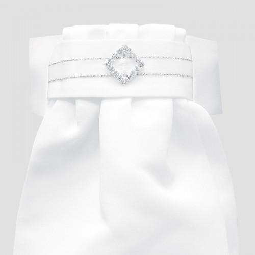 Deluxe Ready-Tied Stocks - White/ Diamond Diamante