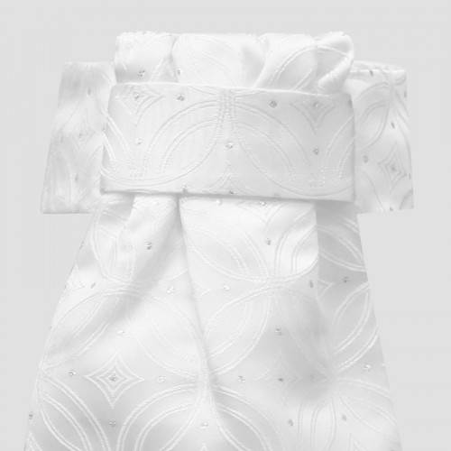 Deluxe Ready-Tied Stocks - Kiev White/Silver