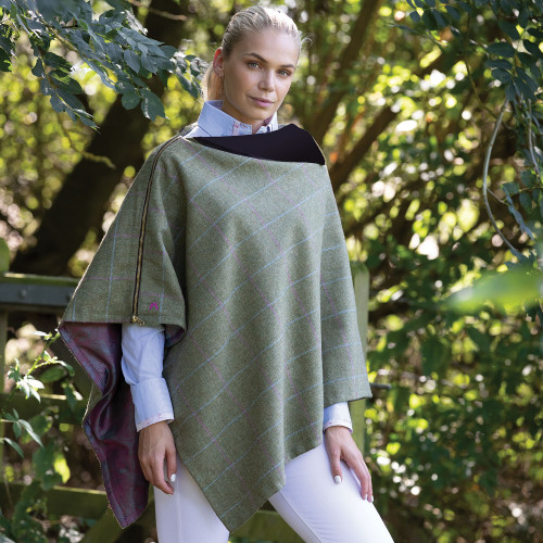 Hayman & Hare Tweed Poncho - Green One size