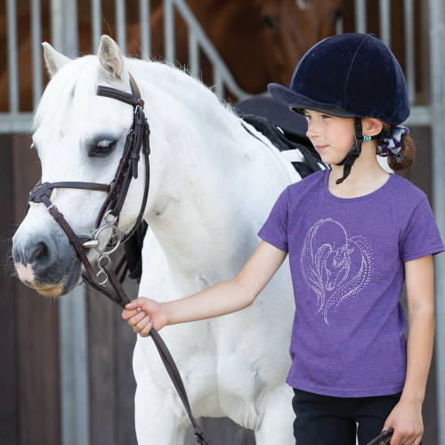 Childs Hold My Heart Horse Tee - Heather 28 (7/8y)