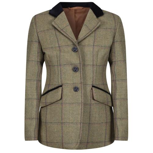 Junior Adstock Deluxe Tweed Riding Jacket - Green (Navy/Pink check) 22