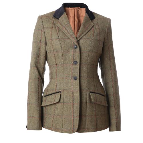 Launton Deluxe Tweed Riding Jacket - Green / Red & Ny 34