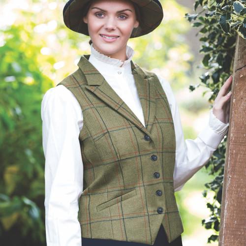 Launton Tweed Lapel Waistcoat - Green 14