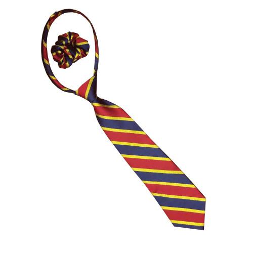 Lurex Stripe Zipper Tie - Navy/Red/Gold