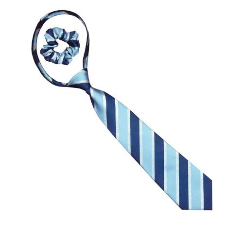 Junior Lurex Stipe Zipper Tie - Navy/Lt Blue/Silver