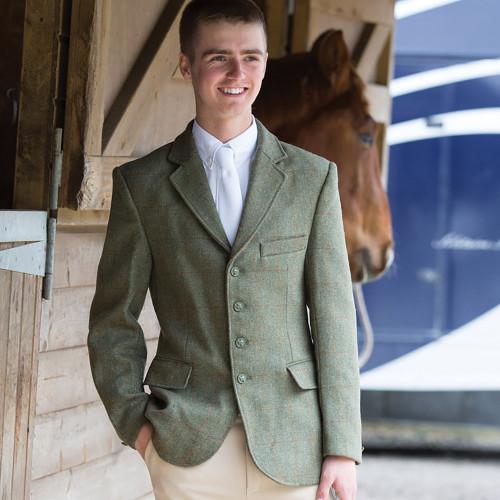 Boys Claydon Tweed Riding Jacket - Green 34