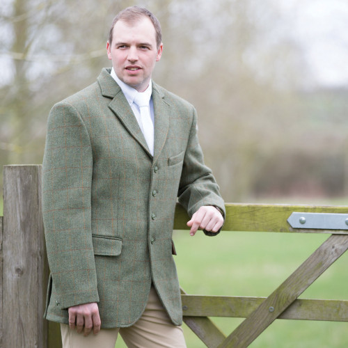 Mens Claydon Tweed Riding Jacket - Green 40