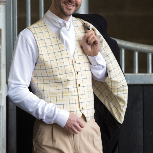 Mens Classic Tattersall Check Waistcoat - Gold/Black 40