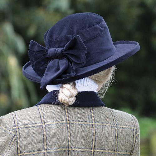 Navy Velvet Show Hat