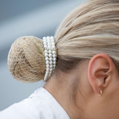 Triple Pearl Bun Ring Scrunchie - Pearl One size