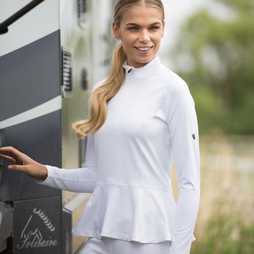 Peplum Training/ Competition Shirt -  Melange Grey UK8/ US4
