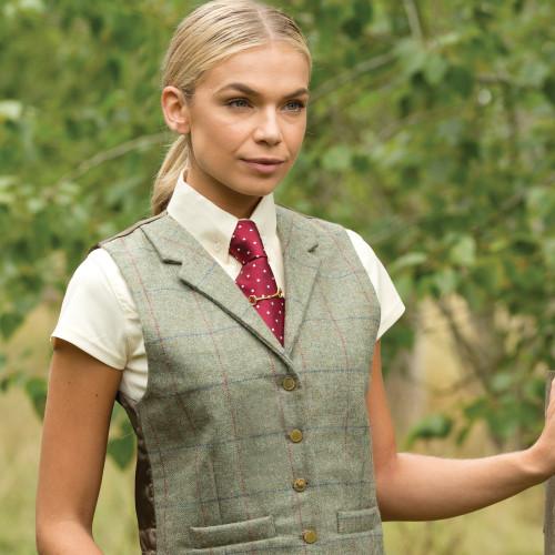 Partidge Lapel Tweed Waistcoat - Green 36