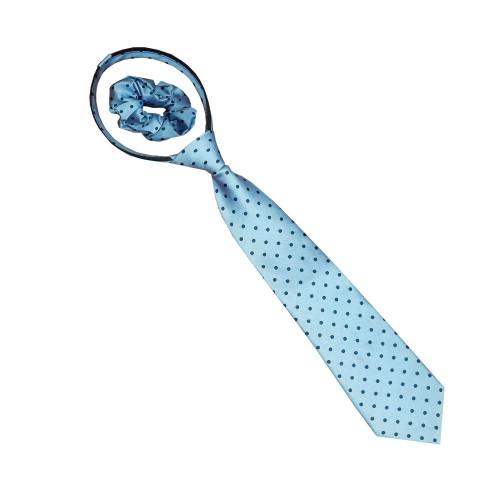 Polka Dot Zipper Tie - Lt Blue/Navy