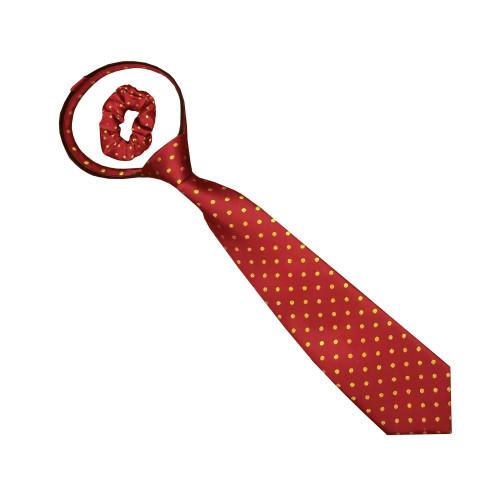 Junior Polka Dot Show Zipper Tie - Red/Gold