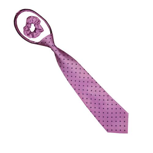 Polka Dot Zipper Tie - Rose/Navy
