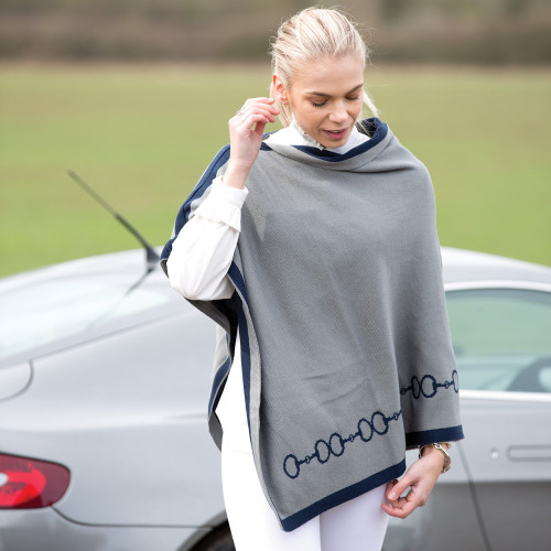 Ladies Reversible Snaffles Poncho - Navy/Grey L/XL