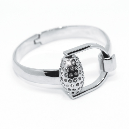 Snaffles Bit Diamante Bangle - Silver