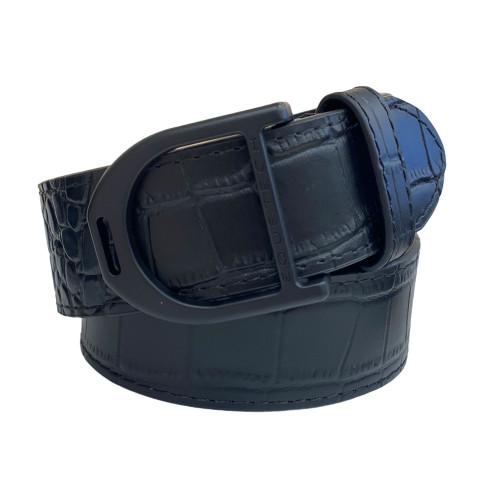 Stirrup Leather Belt 35mm - Black Snakeskin/Black