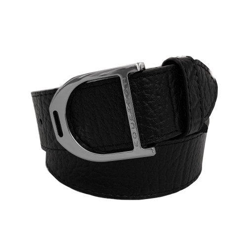 Stirrup Leather Belt 35mm - Black Texture/ Silver