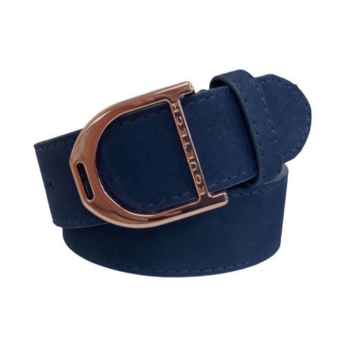 Stirrup Leather Belt 35mm - Navy Suede/Rose Gold