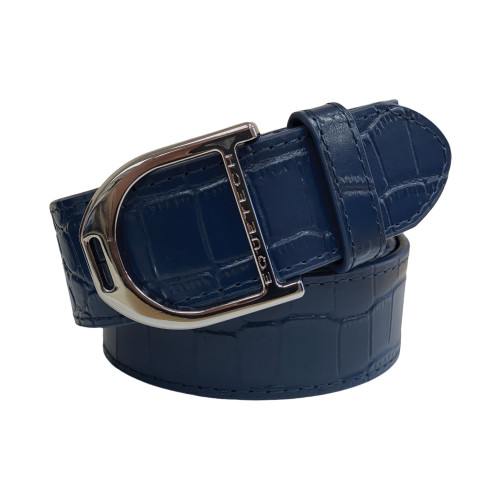 Stirrup Leather Belt 35mm - Navy Snakeskin/ Silver