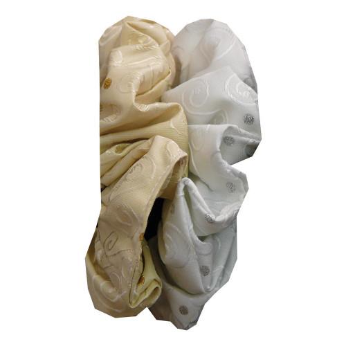 Hair Scrunchie - Fancy Brocade -White/Silver