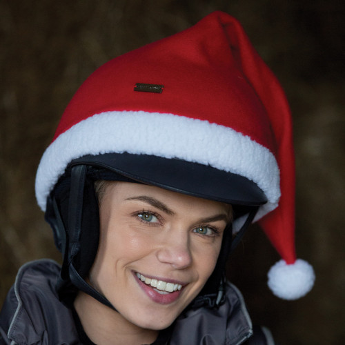 Santa Knitted Riding Hat Cover - Red/White O/S