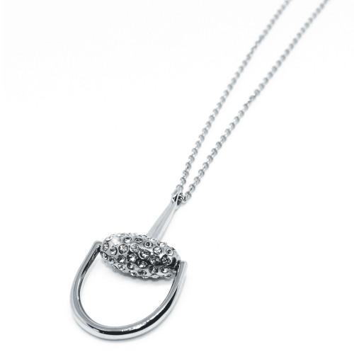 Snaffles Bit Diamante Necklace - Silver