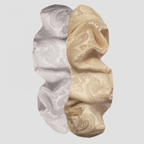 Hair Scrunchie - Paisley Brocade Cream OS