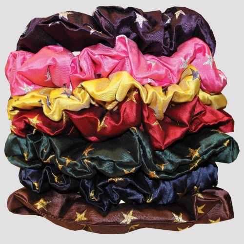 Hair Scrunchie - Stars - Canary Gold / Navy Gold stars