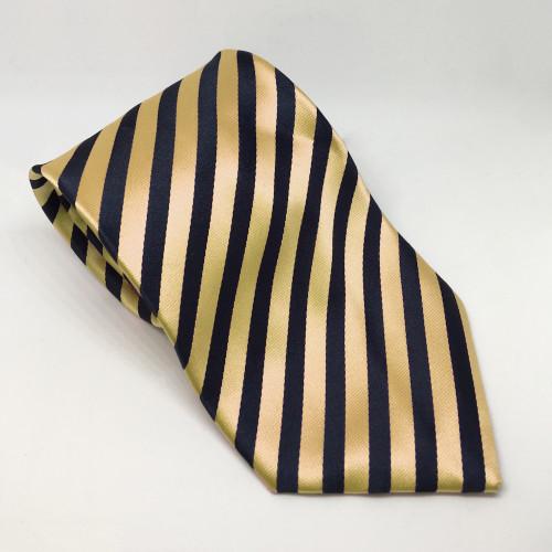 Broad Stripe Show Tie - Navy/Gold