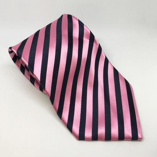 Broad Stripe Show Tie - Navy/Pink