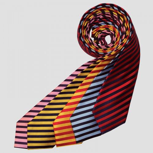 Broad Stripe Show Tie - Red/Gold