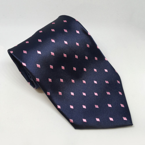 Diamond Show Tie - Navy/Pink