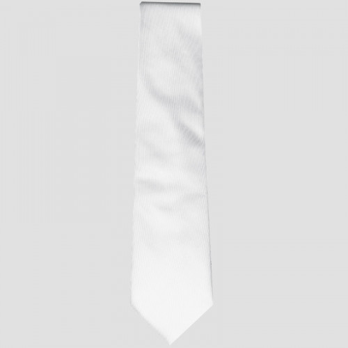 Junior Jacquard Tie - White