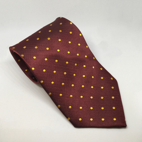 Junior Polka Dot Show Tie - Burgundy/Canary Gold