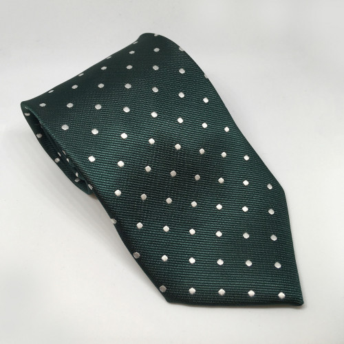 Junior Polka Dot Show Tie - Bottle Green/White