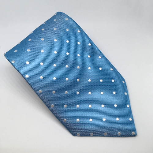 Polka Dot Show Tie - Lt Blue/White