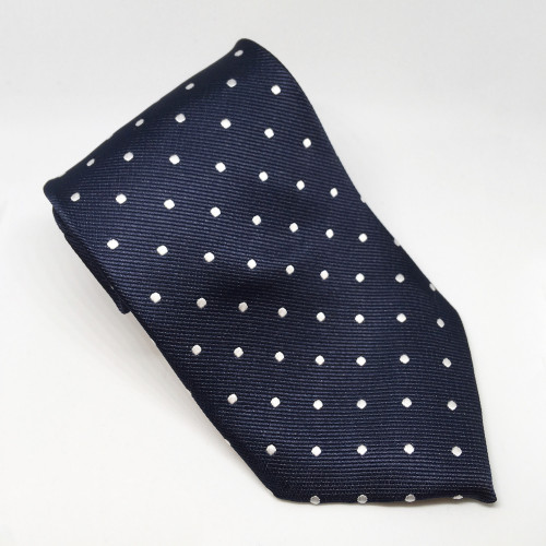 Polka Dot Show Tie - Navy/White