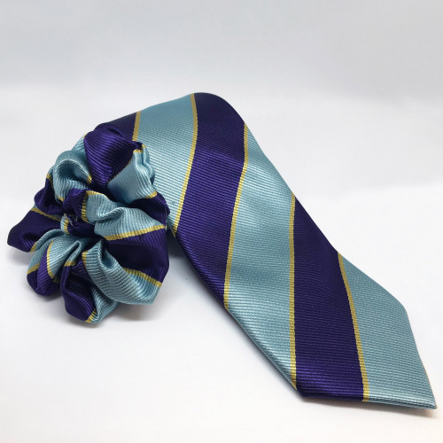Junior PC Striped Tie - Grey/Purple/Gold Stripes
